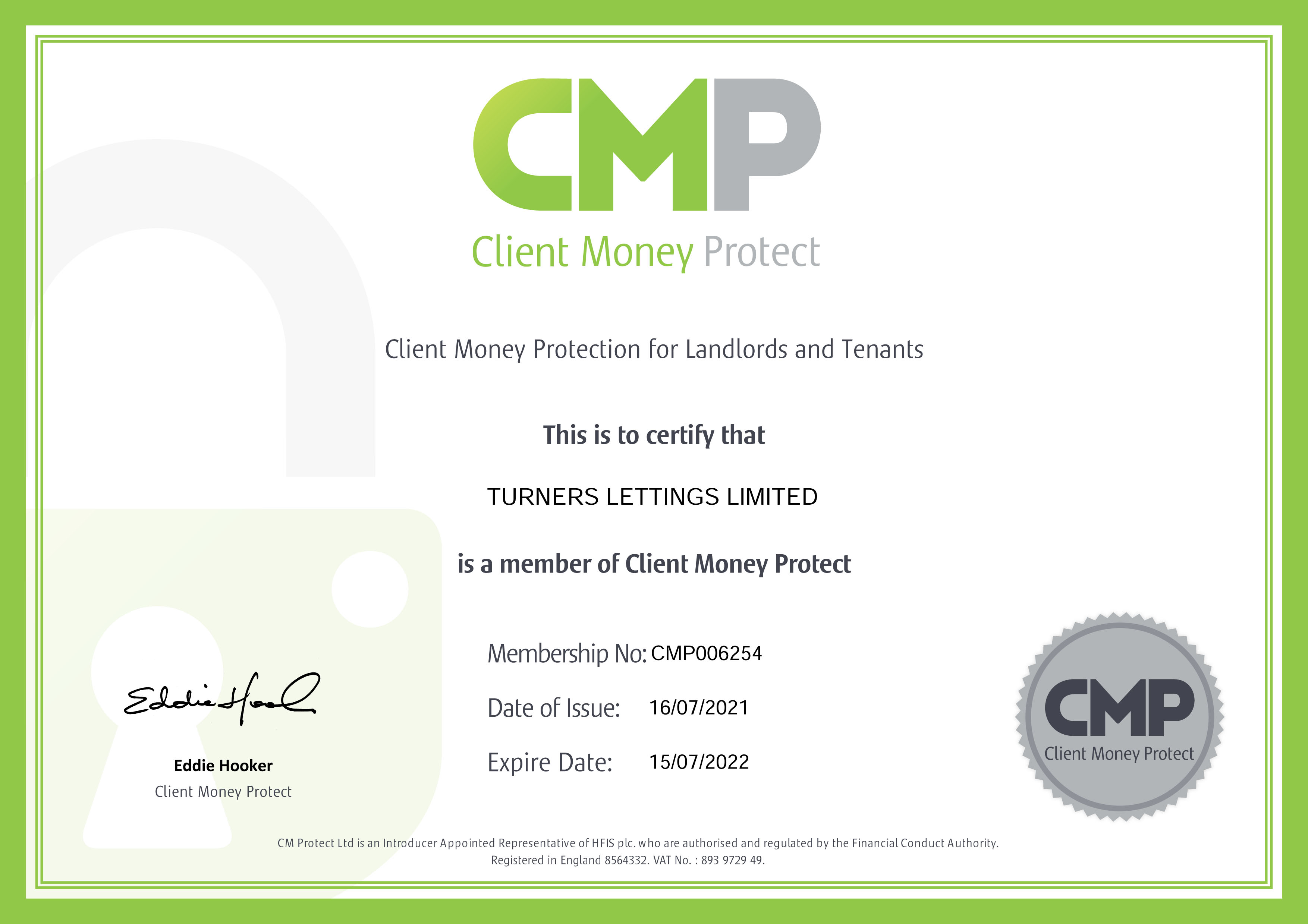 Turners Estate Agents Morden - Client Money Protection Certificate