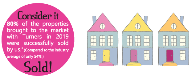 Graphic showing 80% of properties marketed with Turners are sold
