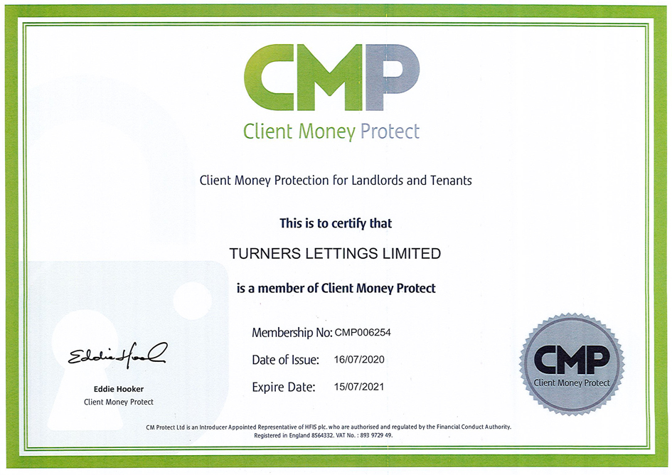 Turners Client-Money Protection Certificate for Landlords