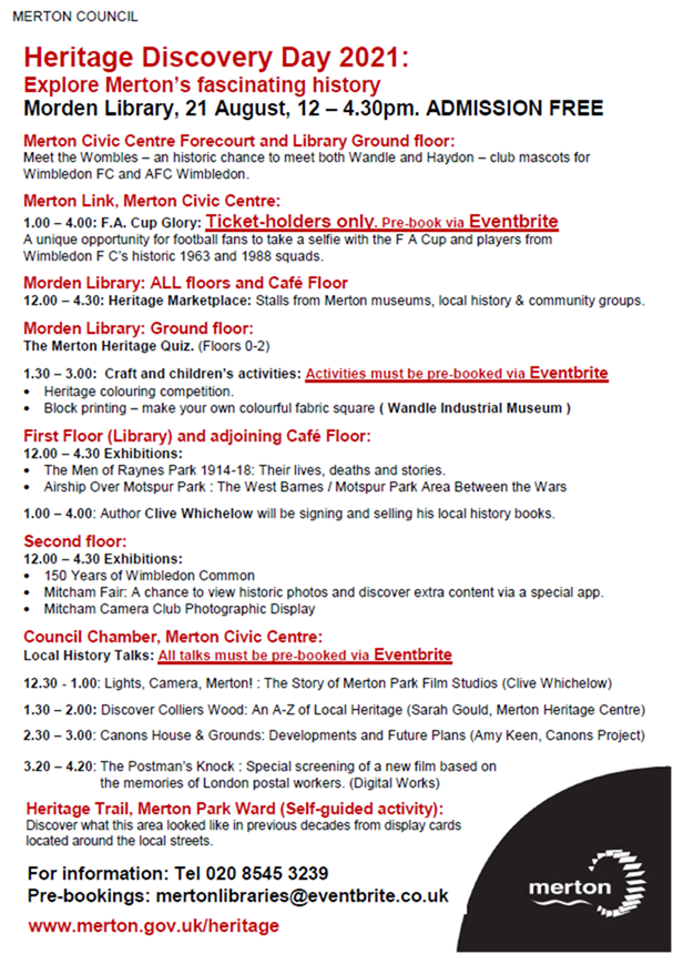 Link to PDF download of list of events at Merton Heritage Discovery Day 2021