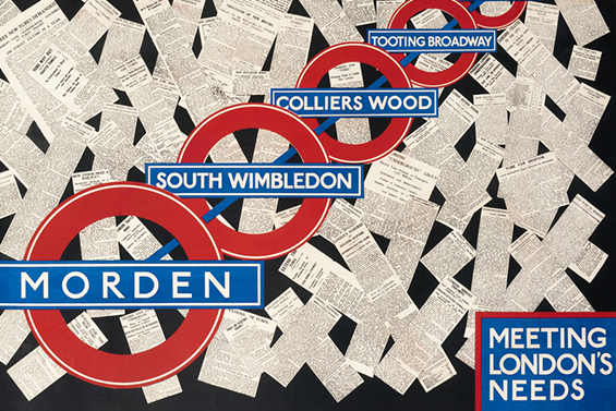Vintage poster advertising Morden Tube Station