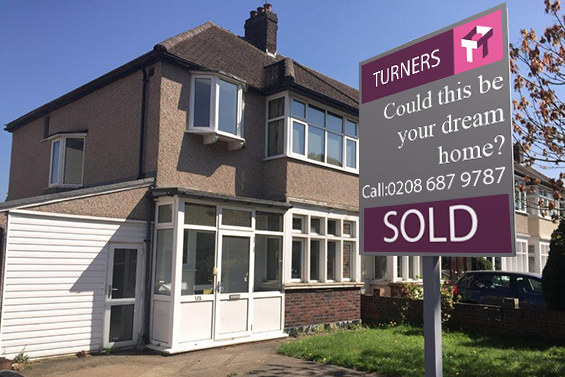 House for sale in Morden with sold sign outside by Turners Property