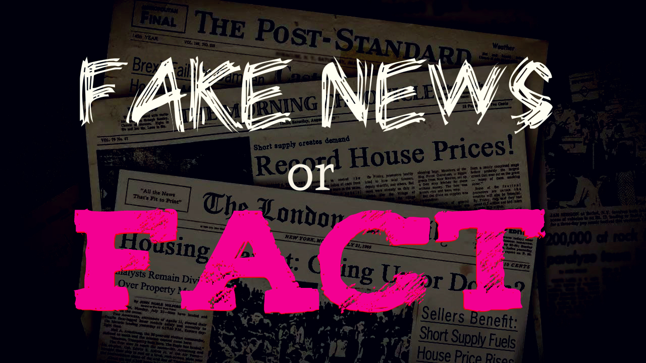 Old newspapers with housing market headlines. Words 'Fake News or Fact' are superimposed. Links to Turners Property website